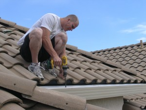 Gutterglove installation on tile roof