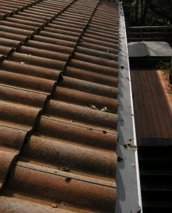 Tile roof with gutterglove